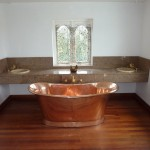The Master Bathroom with copper bath